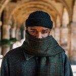 man wearing scarf, gaiter