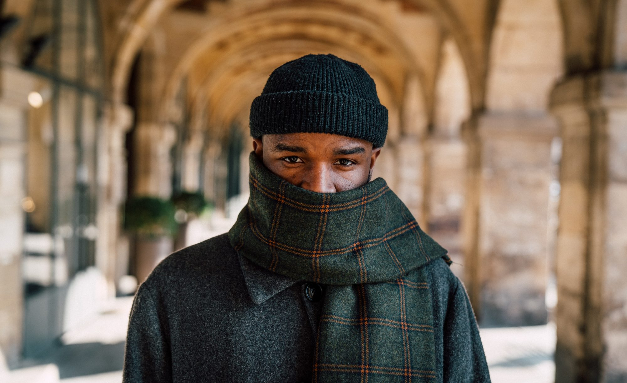 man wearing scarf, gaiter