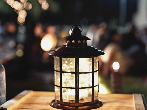 lantern on a table