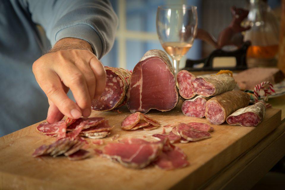 salami and wine