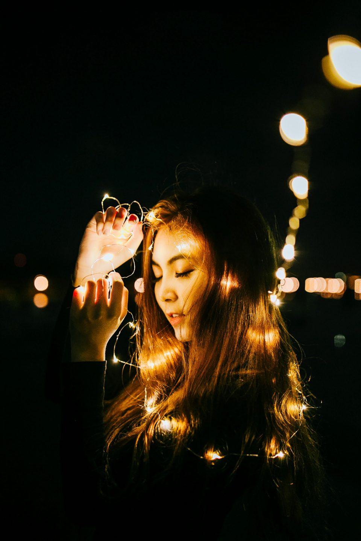 led lights at night, woman