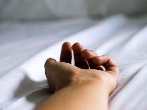 hand on bed, sleep