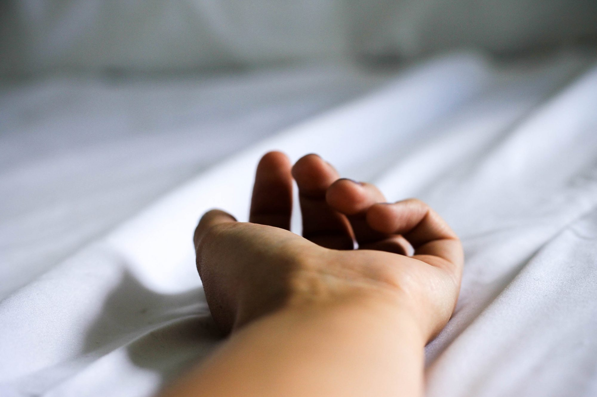 hand on bed, sleep